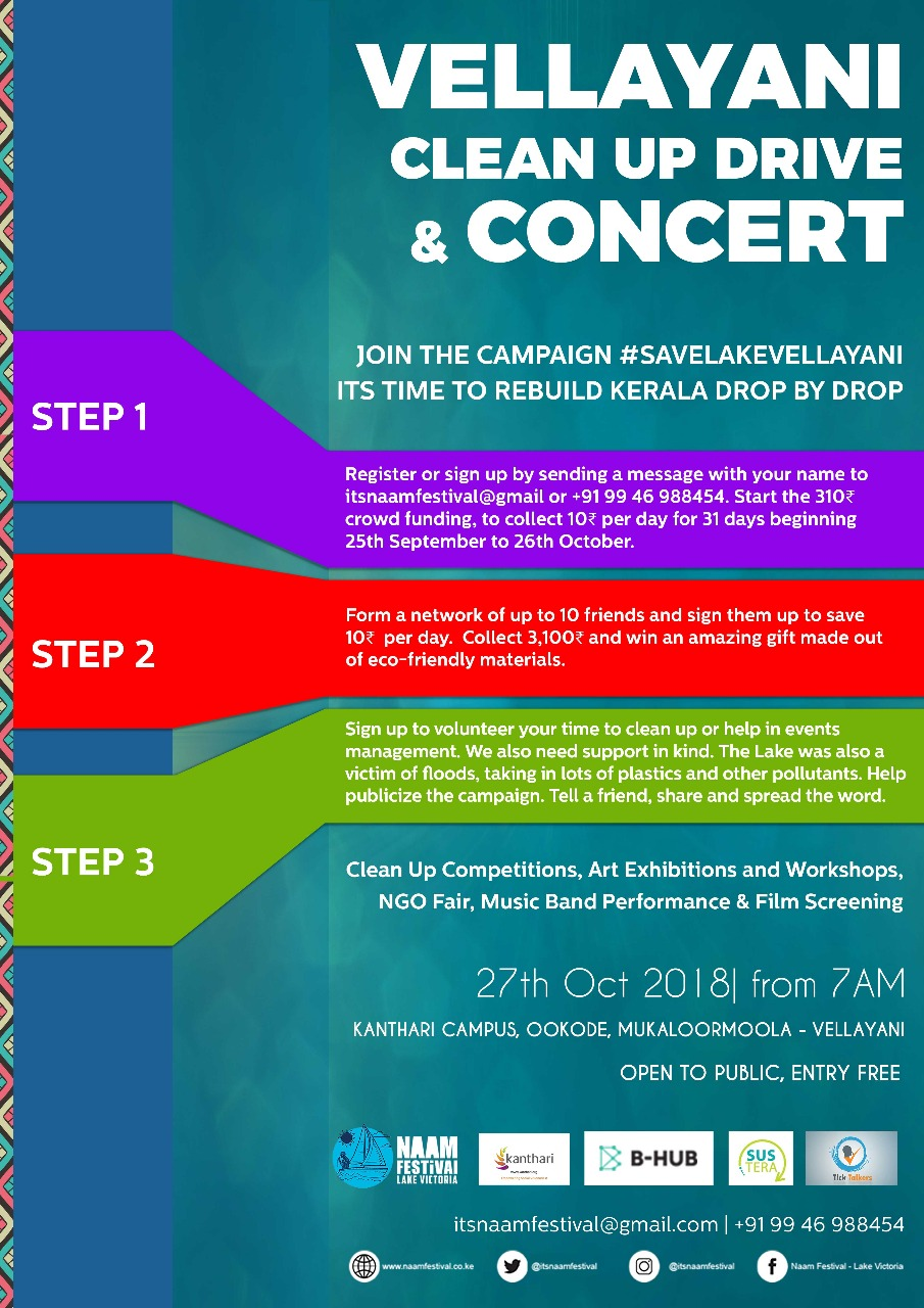Fundraiser for Save Lake Vellayani; 3 different steps of supporting the campaign - Financial and non financial